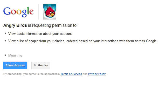 Angry birds permissions