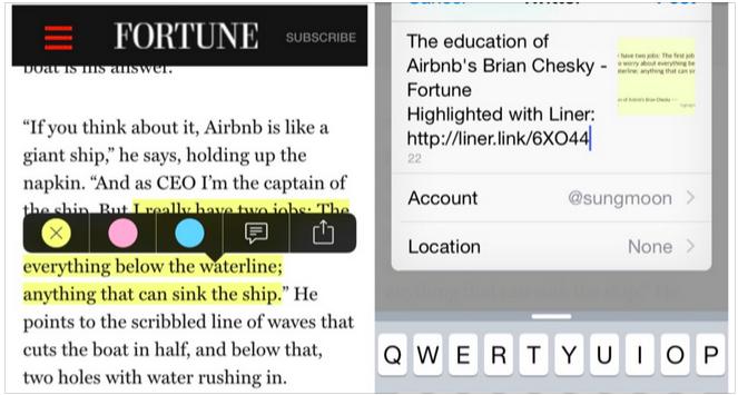 Liner, la app para subrayar lo que más te interese