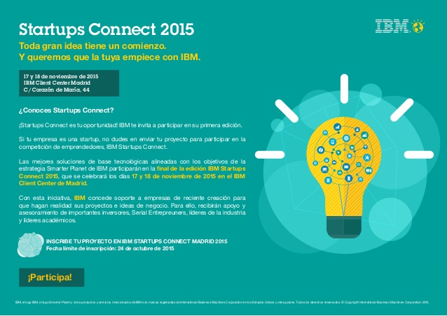Startups Connect 2015. IBM convoca el concurso de emprendedores de Big Data y IoT