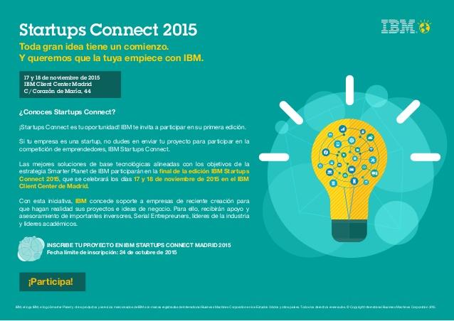 Startups Connect 2015. IBM convoca el concurso de emprendedores de Big Data y IoT