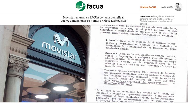 FACUA, amenazada por Movistar