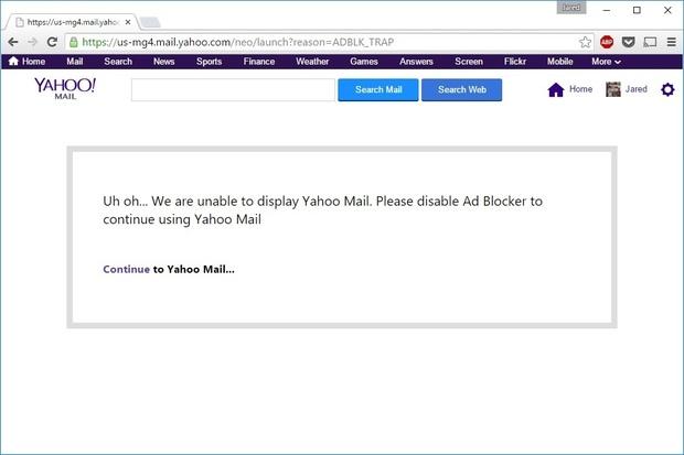 Yahoo Mail bloquea a los Ad Blockers