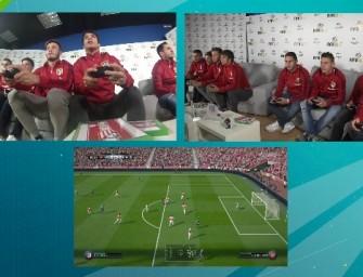 Los jugadores del Atlético de Madrid luchan en FIFA 16