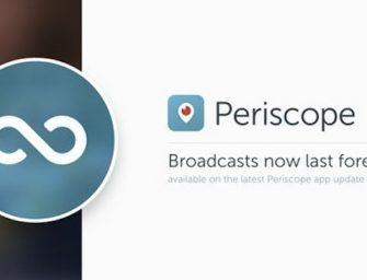 Periscope se actualiza con el guardado permanente de los vídeos