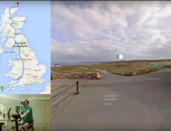Un británico viaja en su bicicleta estática de punta a punta por Gran Bretaña