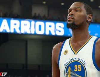 Kevin Durant presume de la camiseta de los Warriors en NBA 2K17
