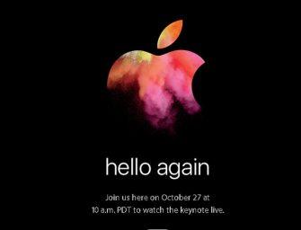 Hello again: Apple presentará sus nuevos portátiles el 27 de octubre