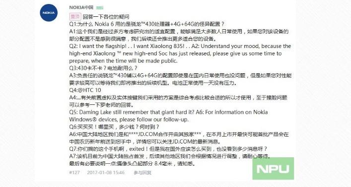 Nokia con Snapdragon 835